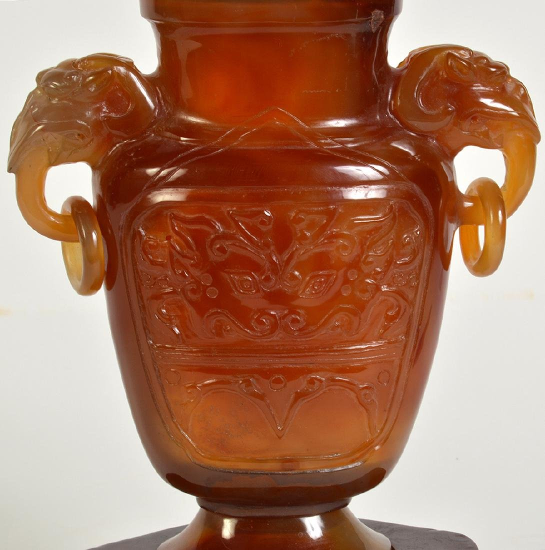 Amber Quartz Lidded Chinese Urn on Stand - 6