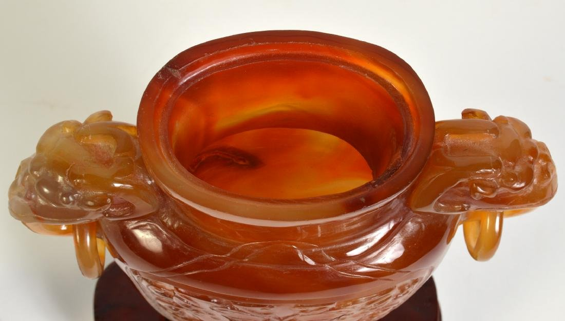 Amber Quartz Lidded Chinese Urn on Stand - 7