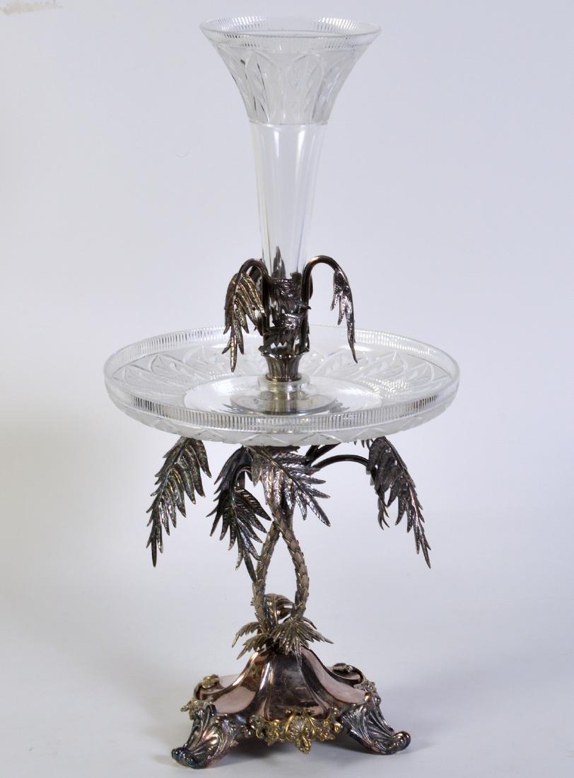Palm Tree Silverplate Centerpiece Vase