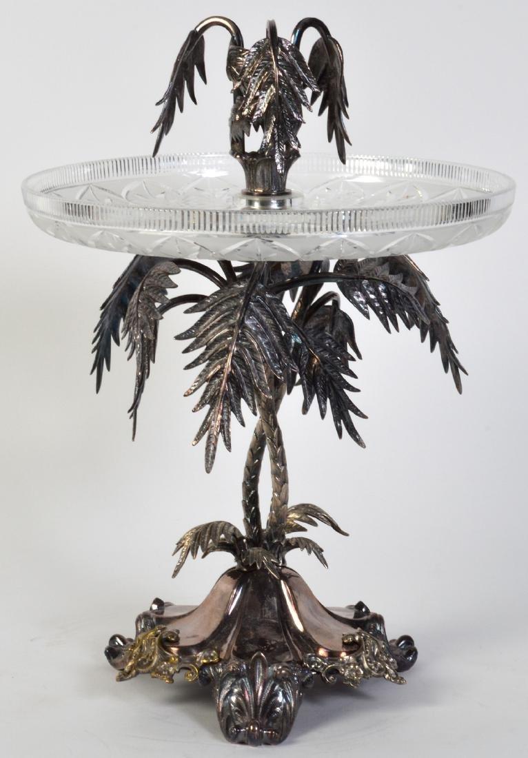 Palm Tree Silverplate Centerpiece Vase - 6