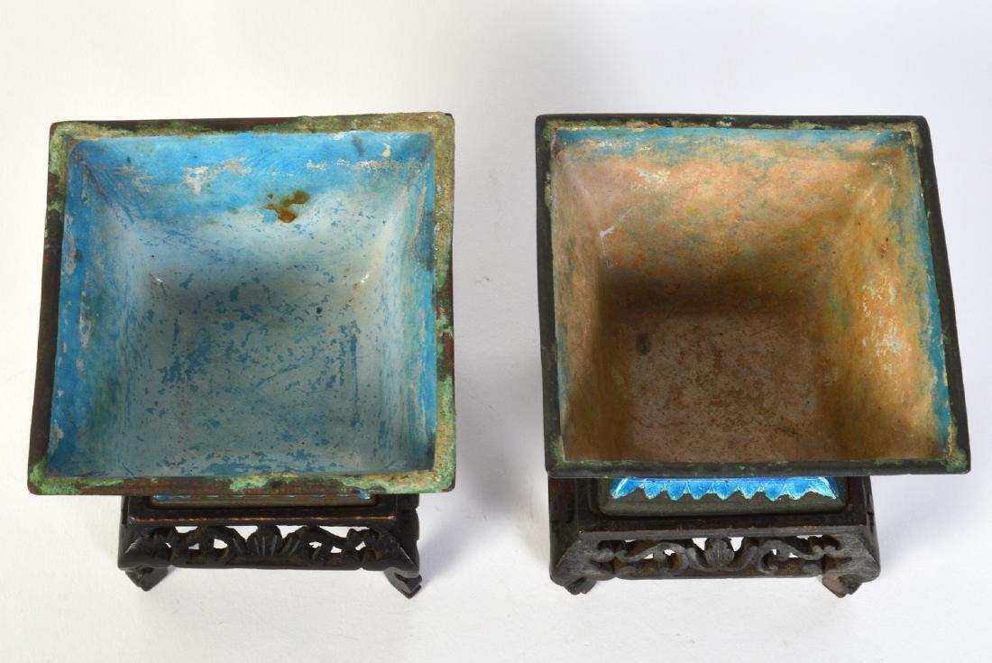 Pr. Chinese Painted Enameled Metal Planters - 5