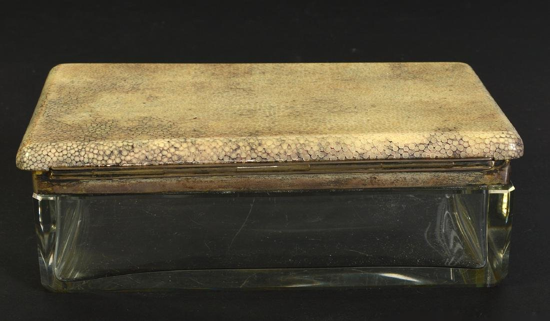 Shagreen Lidded Glass Box with Sterling Mounts - 4