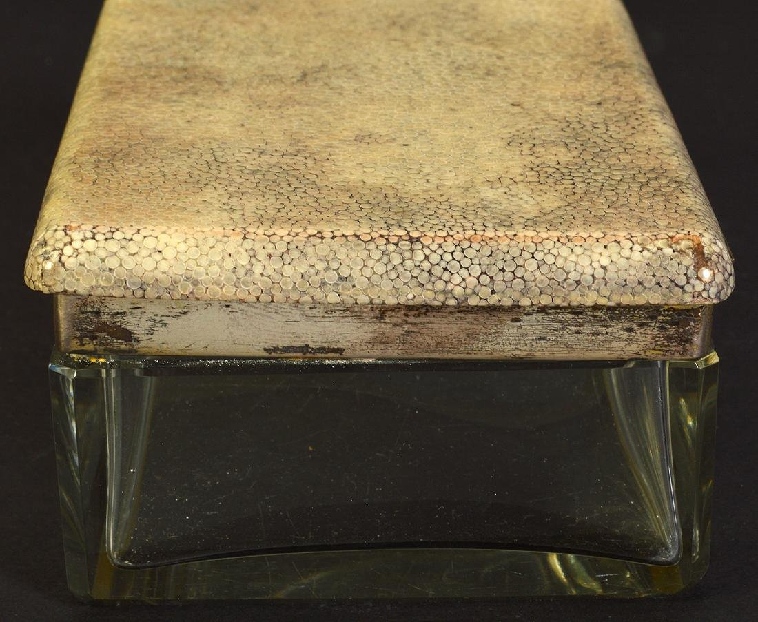 Shagreen Lidded Glass Box with Sterling Mounts - 5