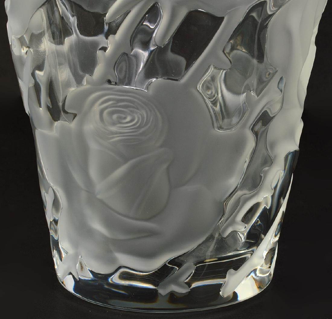 Lalique 'Ispahan' Rose Pattern Vase - 5