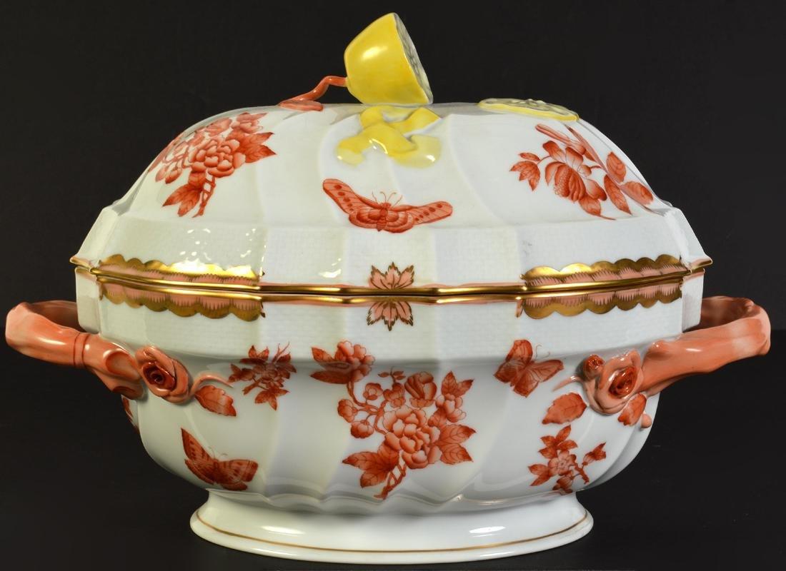 Herend Rust Chinese Bouquet Lidded Lemon Tureen