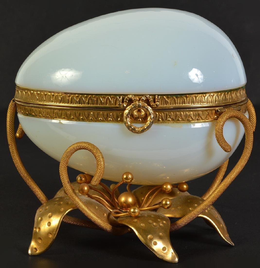 White Opaline Egg on Dore Bronze Base