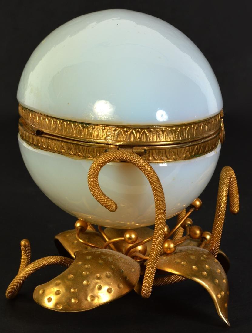 White Opaline Egg on Dore Bronze Base - 2