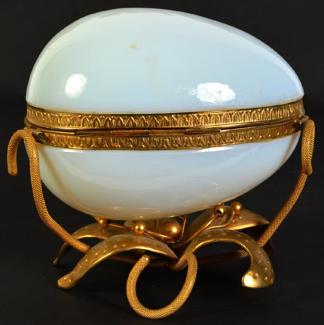 White Opaline Egg on Dore Bronze Base - 3