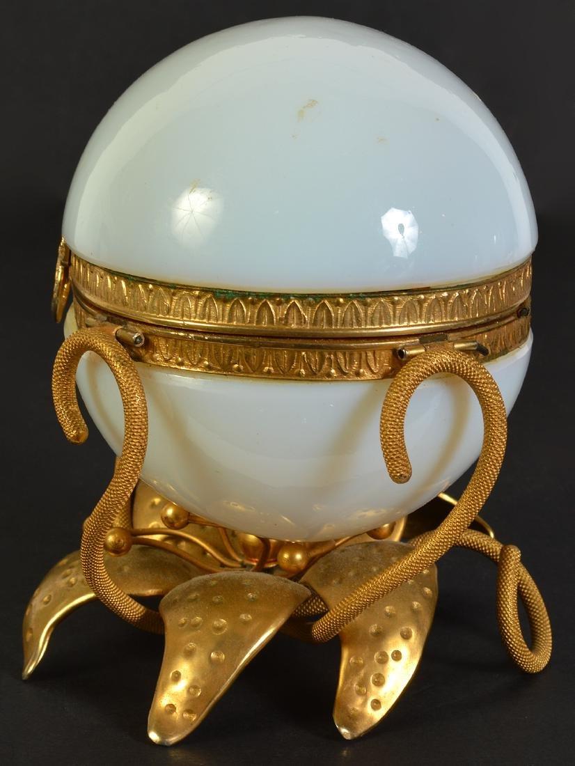 White Opaline Egg on Dore Bronze Base - 4
