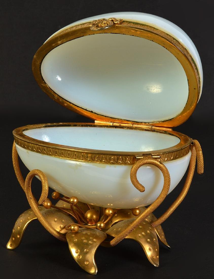 White Opaline Egg on Dore Bronze Base - 5