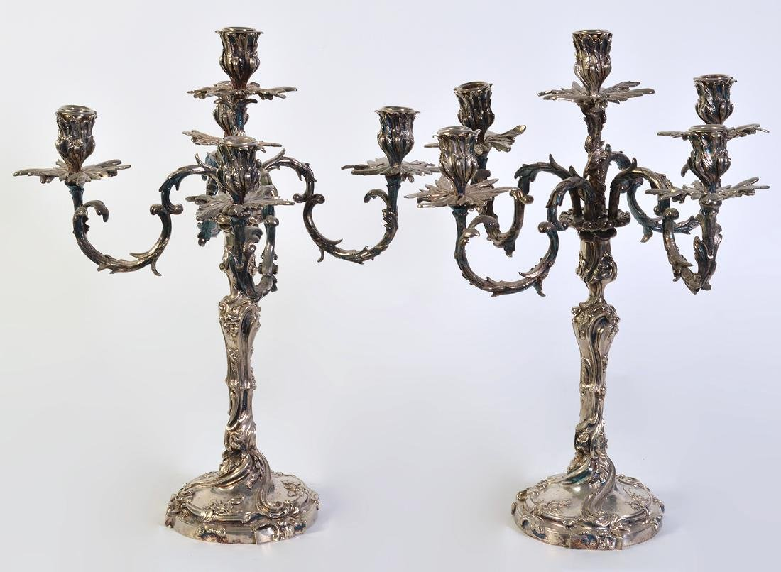 Pr. Silvered Bronze 5 Arm Candelabras