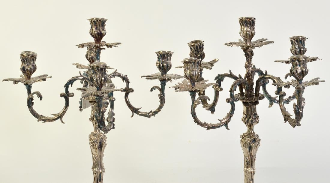 Pr. Silvered Bronze 5 Arm Candelabras - 2