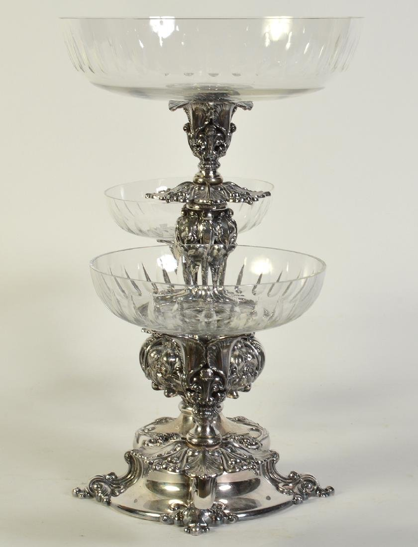 Silverplate Epergne W/2 Arms & Center Bowl - 5