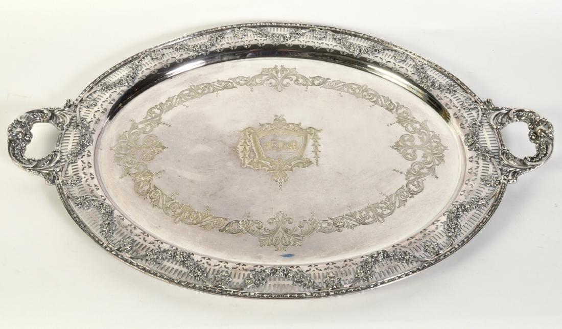 Silverplate Oval Gallery Tray