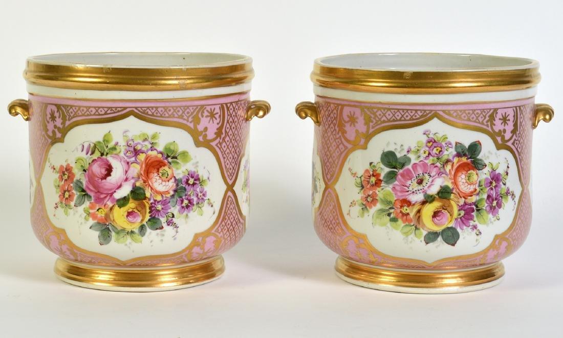 Pr. Old Paris Style Porcelain Cachpots