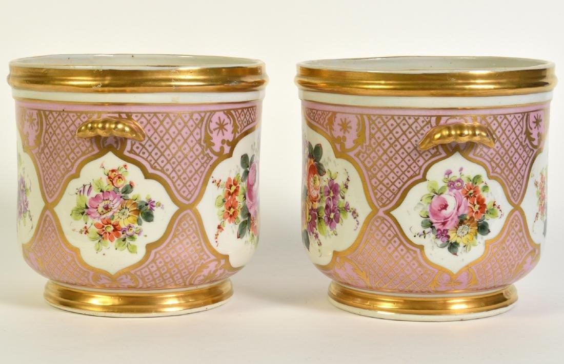 Pr. Old Paris Style Porcelain Cachpots - 2