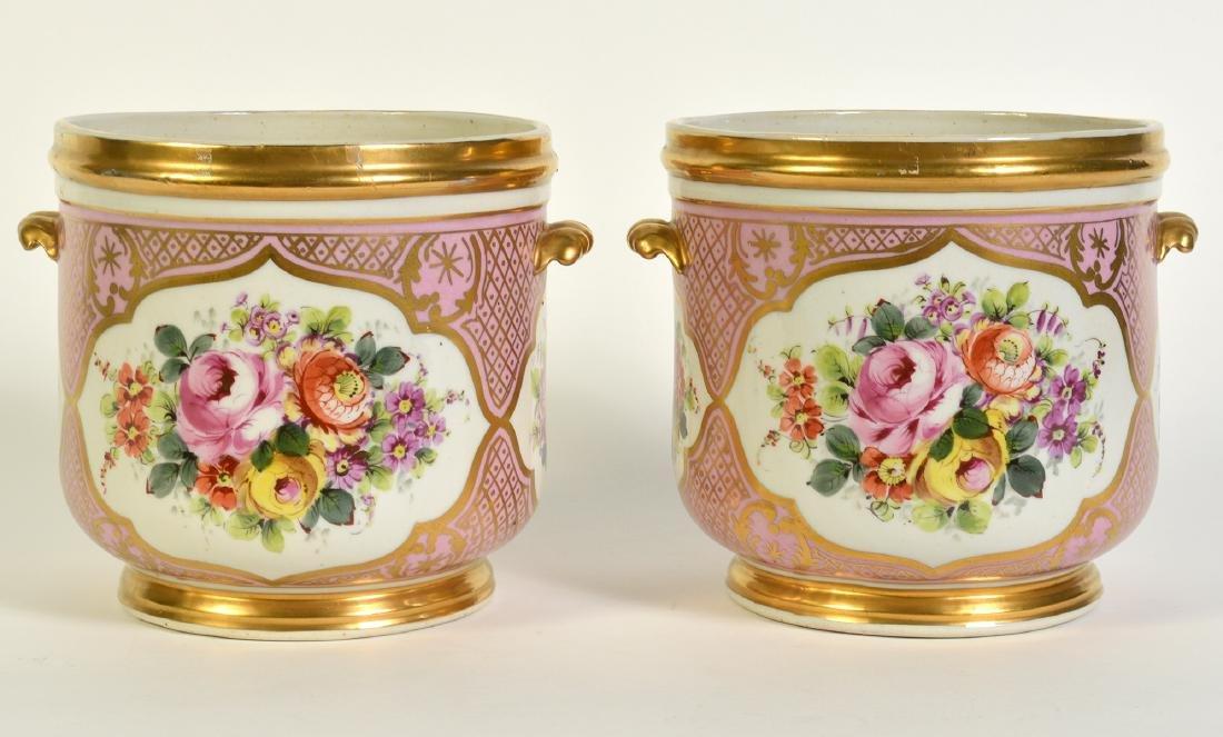Pr. Old Paris Style Porcelain Cachpots - 3