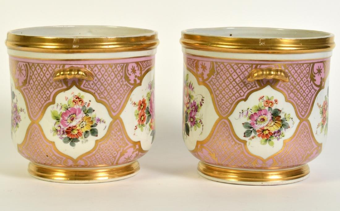 Pr. Old Paris Style Porcelain Cachpots - 4