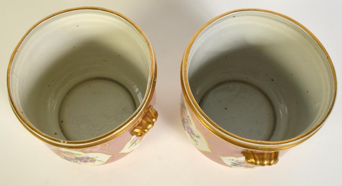 Pr. Old Paris Style Porcelain Cachpots - 7