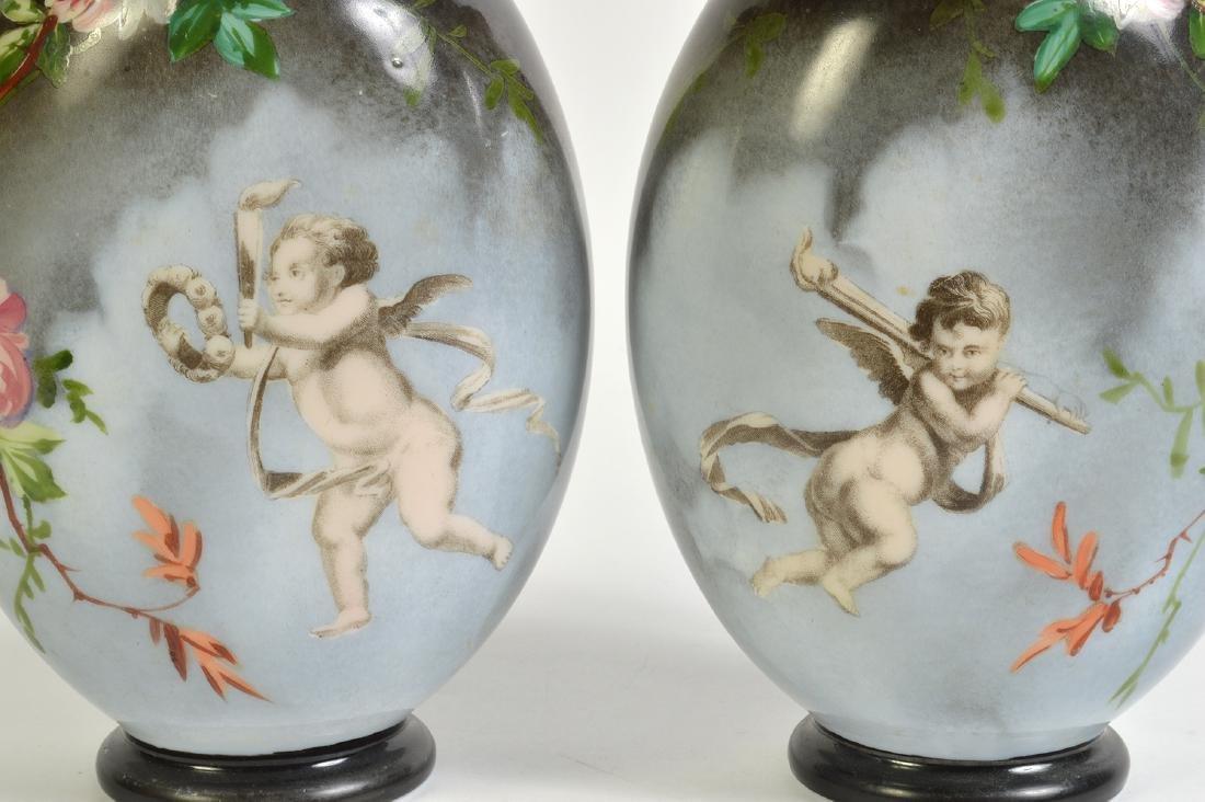 Pr. Rare Porcelain Signed Baccarat Vases - 2
