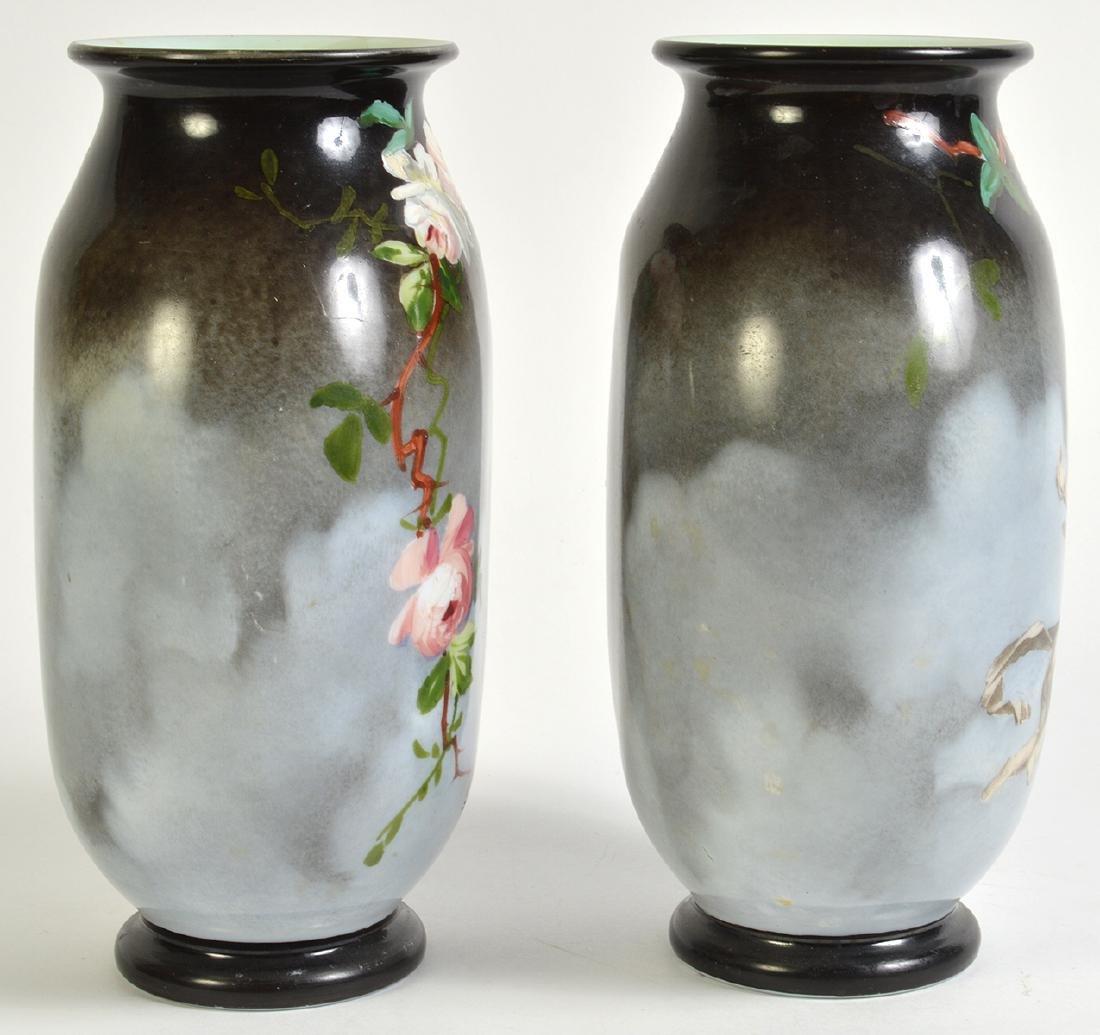 Pr. Rare Porcelain Signed Baccarat Vases - 3