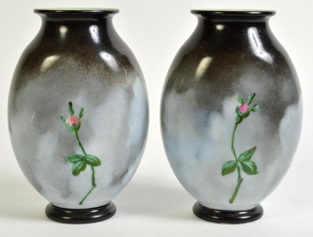 Pr. Rare Porcelain Signed Baccarat Vases - 4