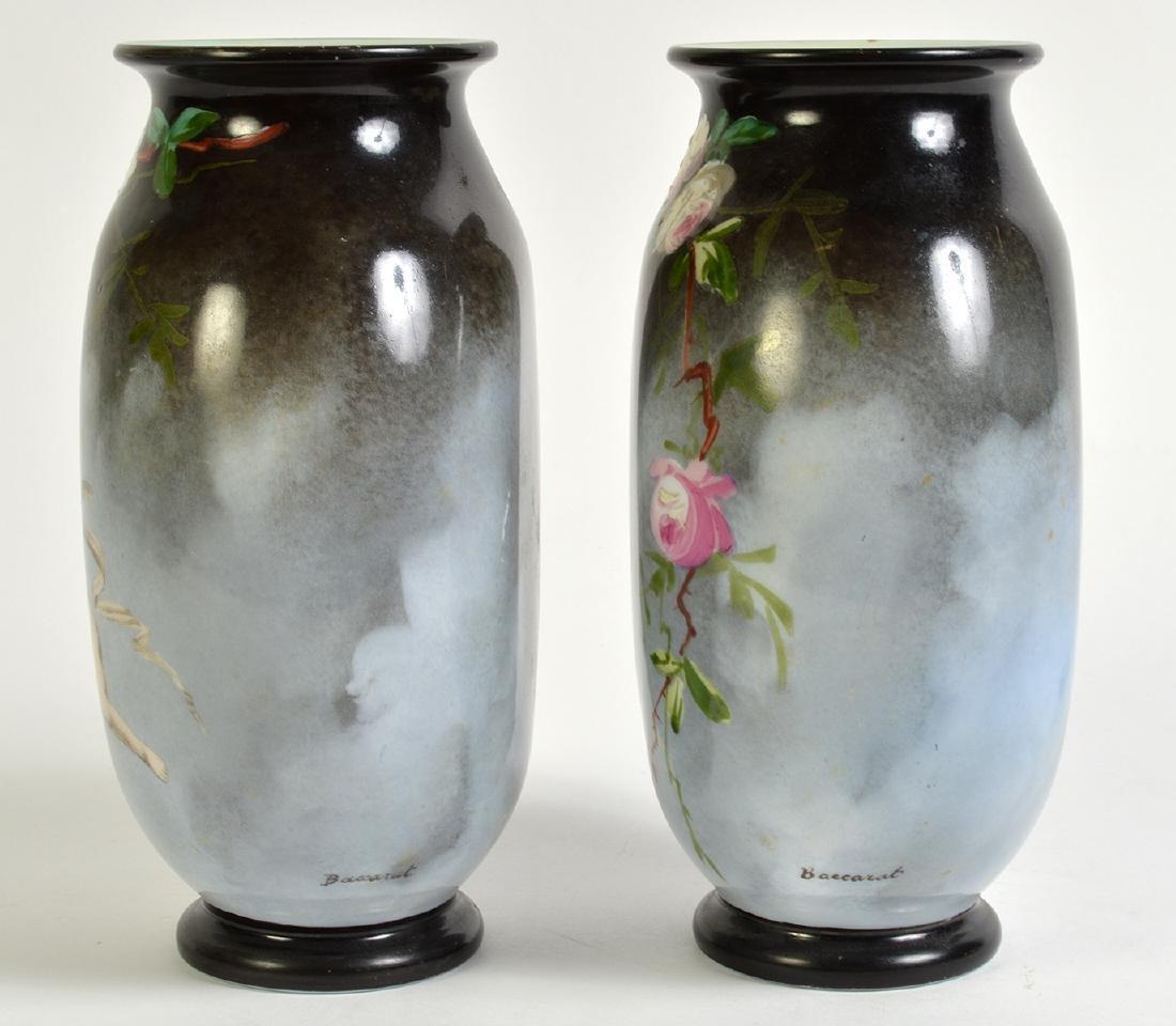 Pr. Rare Porcelain Signed Baccarat Vases - 5