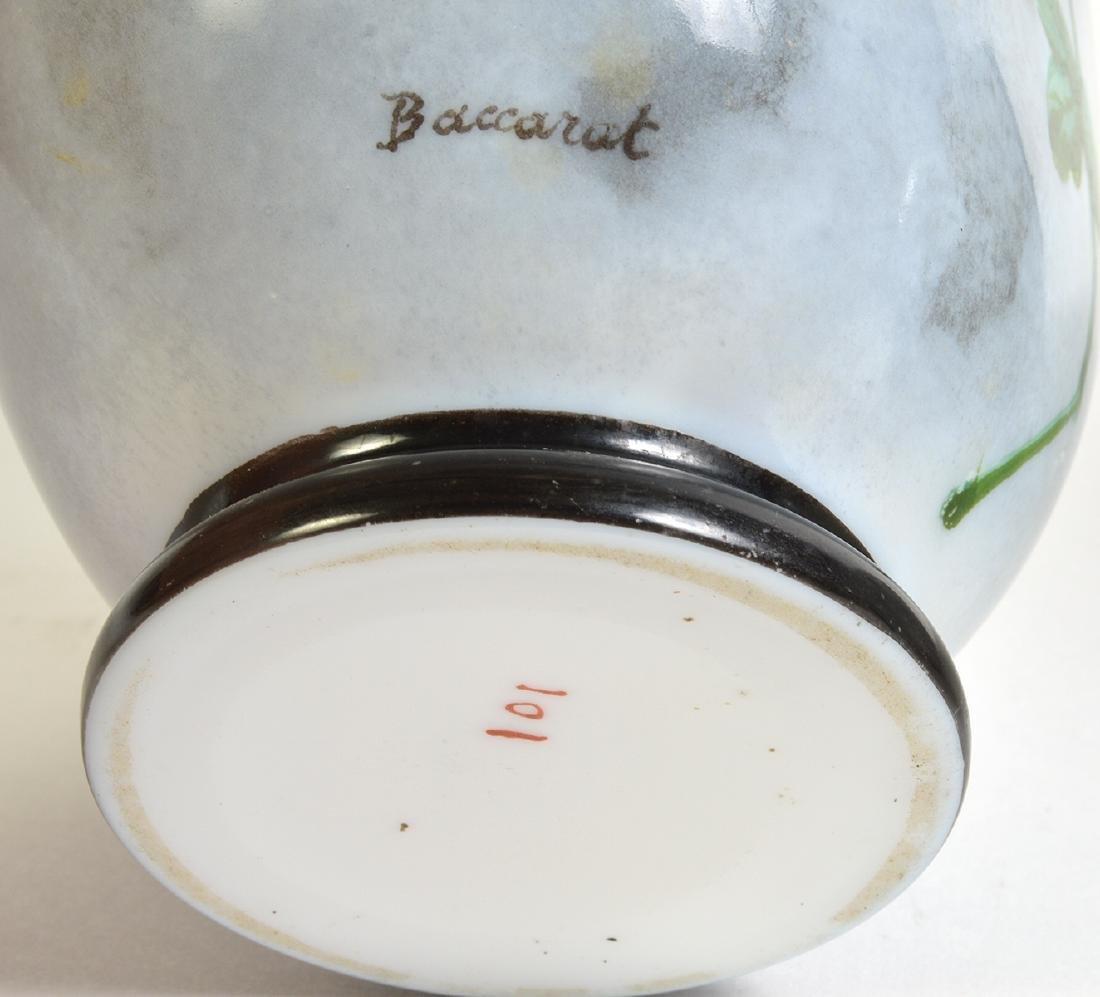 Pr. Rare Porcelain Signed Baccarat Vases - 8