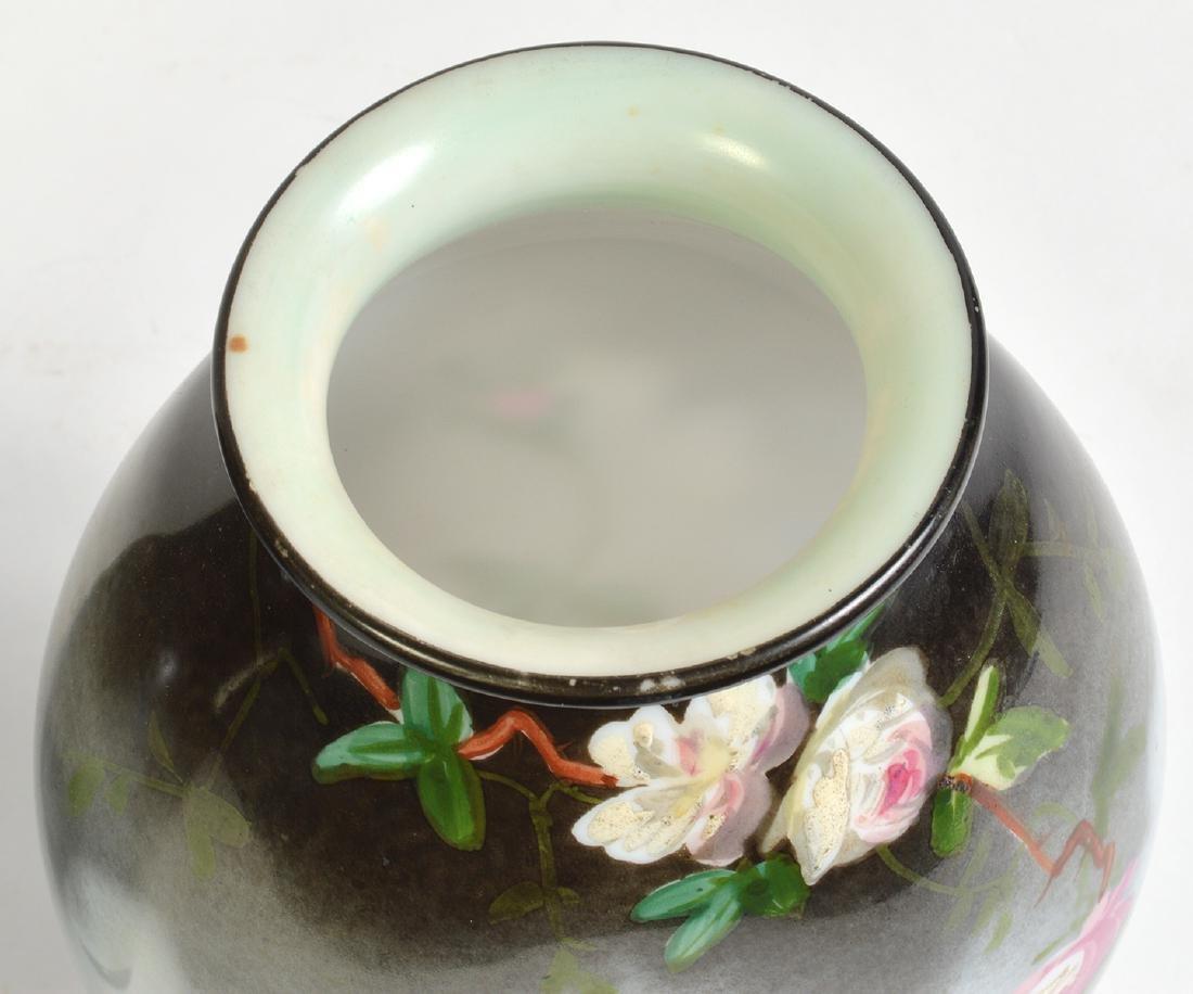 Pr. Rare Porcelain Signed Baccarat Vases - 9