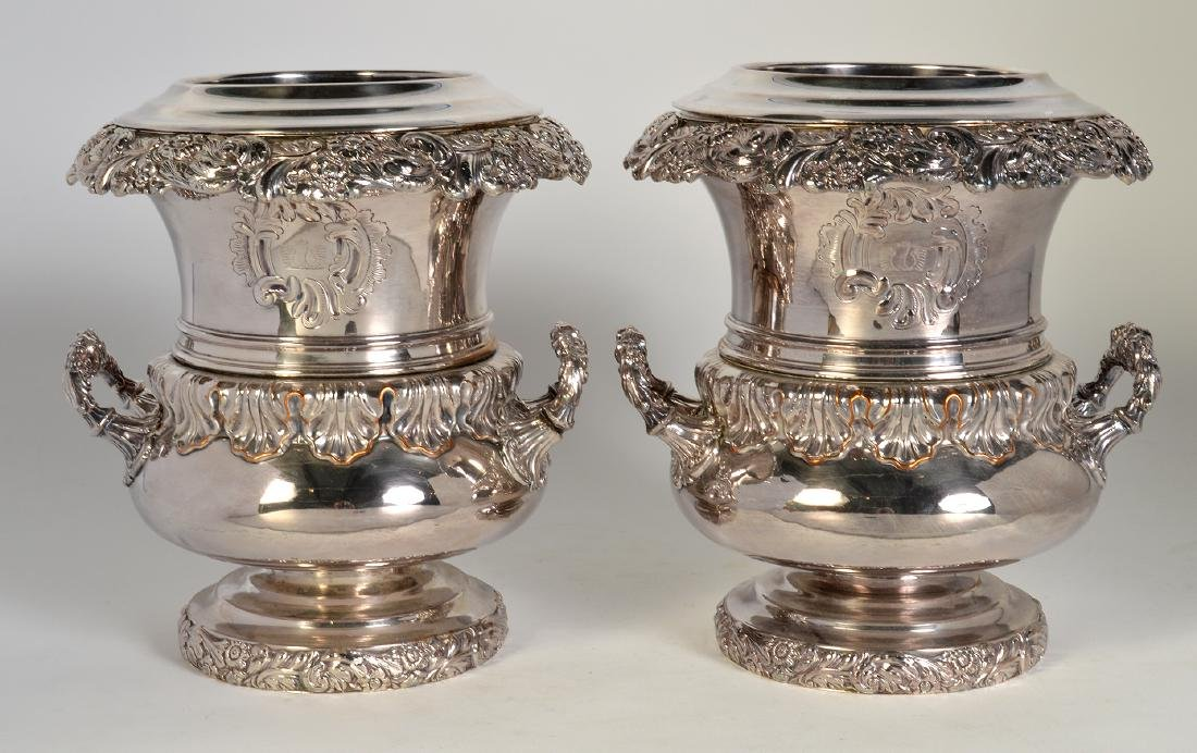 Pr. 19th C. Old Sheffield Silverplate Wine Coolers