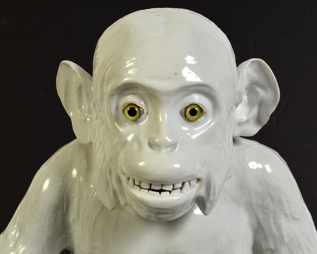 Meissen Style Ceramic Monkey W/ Green Glass Eyes - 2