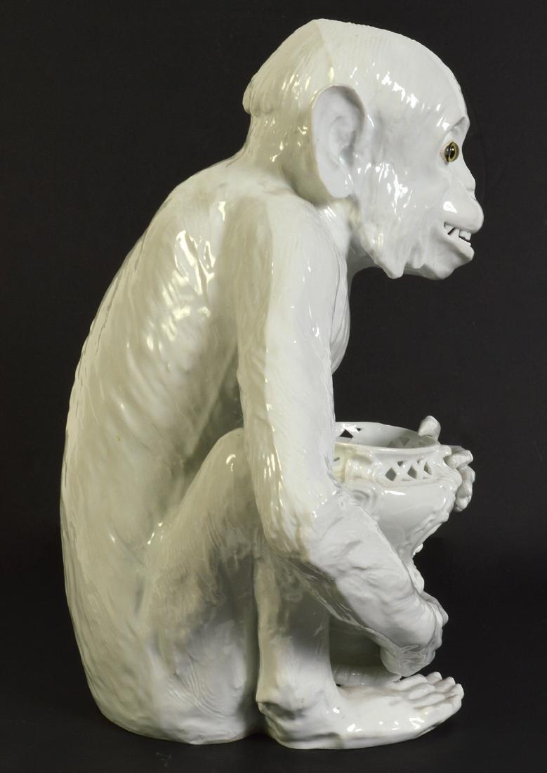 Meissen Style Ceramic Monkey W/ Green Glass Eyes - 6