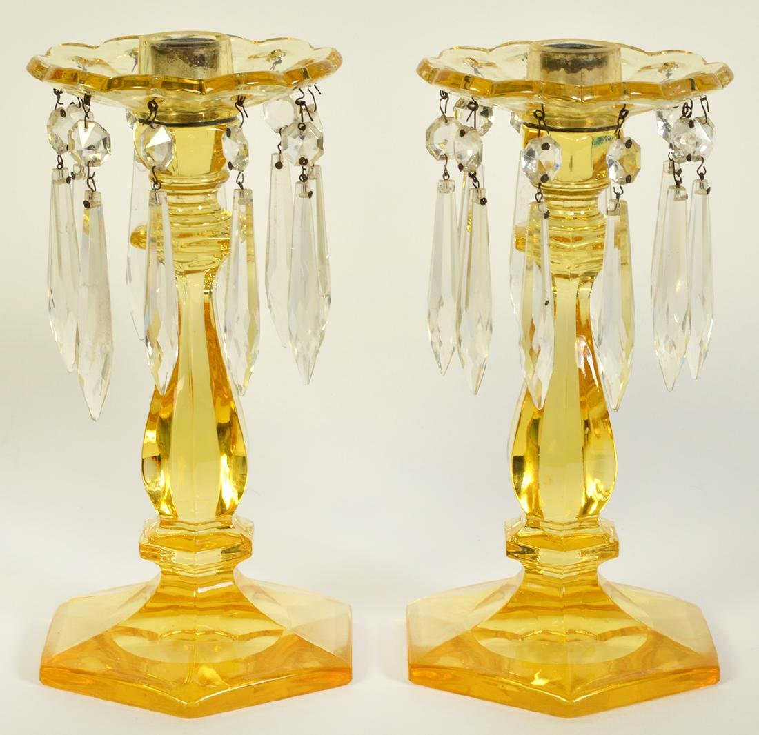 Pr. Heisey Sahara Yellow Glass Candlestick
