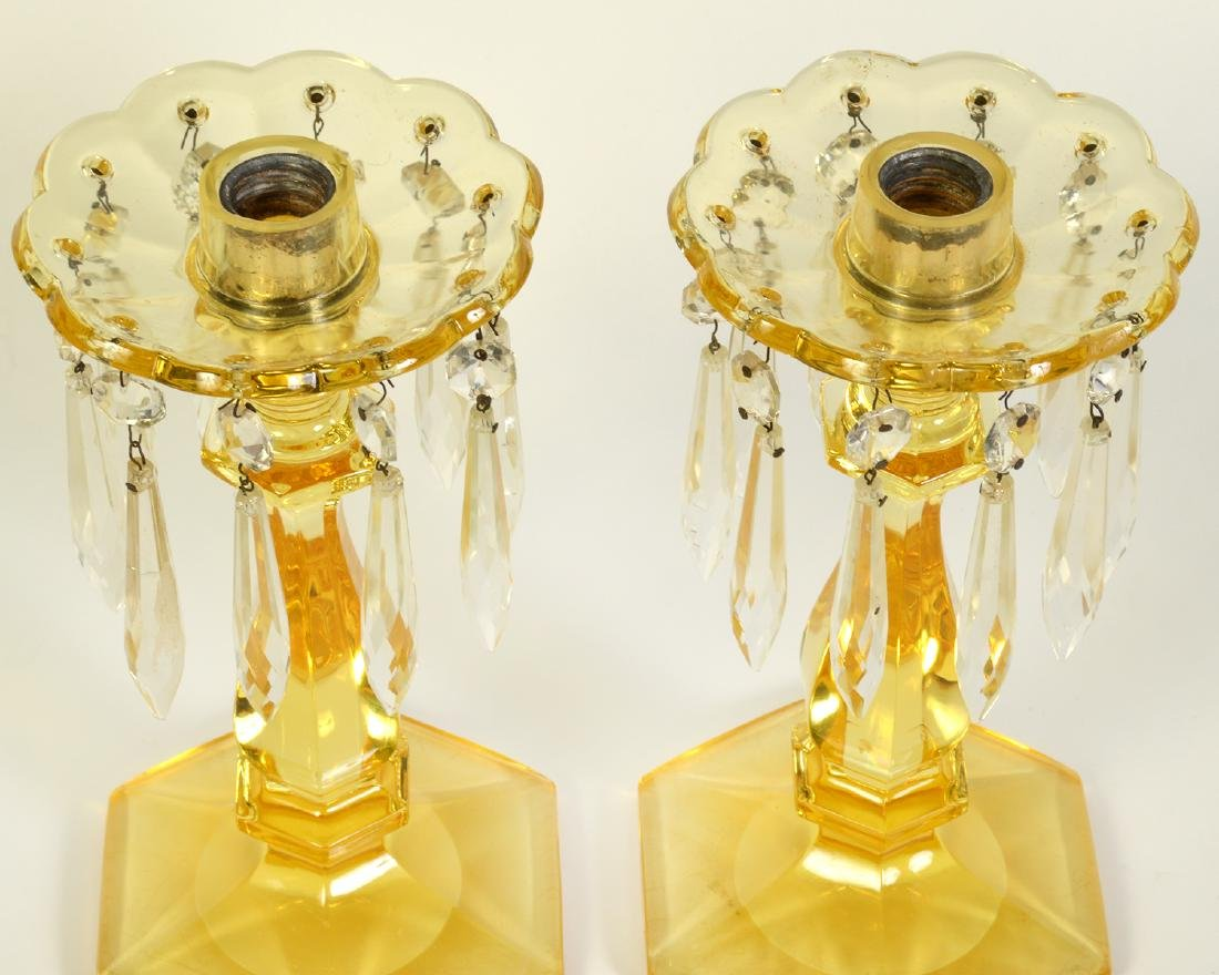 Pr. Heisey Sahara Yellow Glass Candlestick - 2