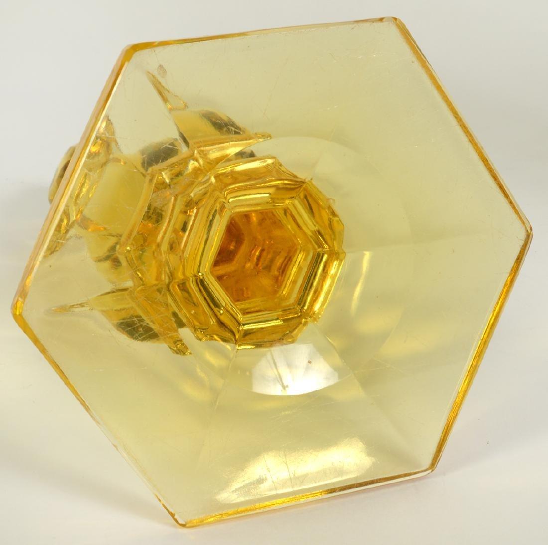 Pr. Heisey Sahara Yellow Glass Candlestick - 7