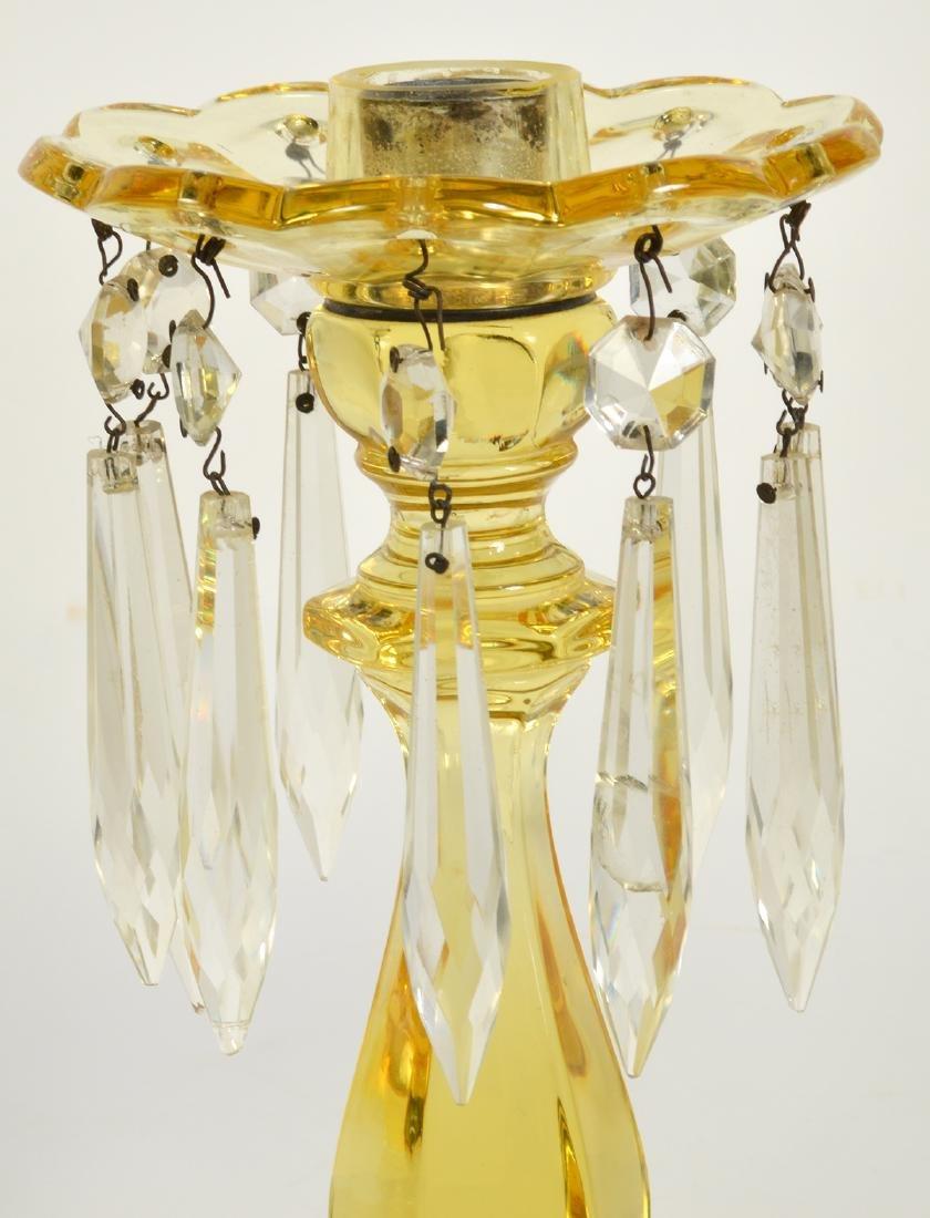 Pr. Heisey Sahara Yellow Glass Candlestick - 8