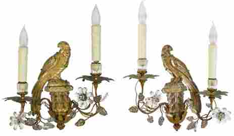 Pr. French Bagues Crystal Parrot Sconces