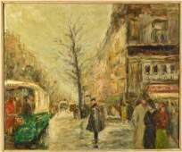 Large Gabriel Spat 'Rainy Day in Paris' Painting