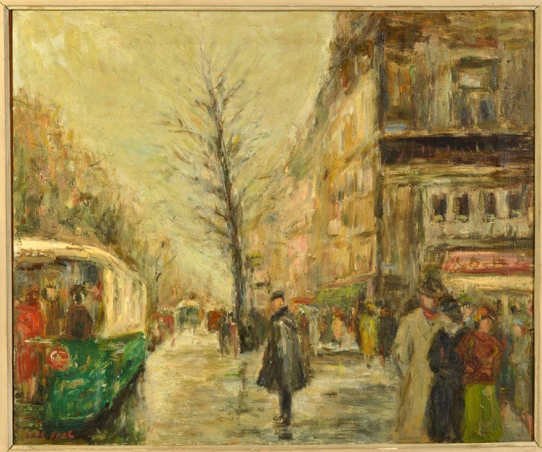 Large Gabriel Spat 'Rainy Day in Paris' Painting