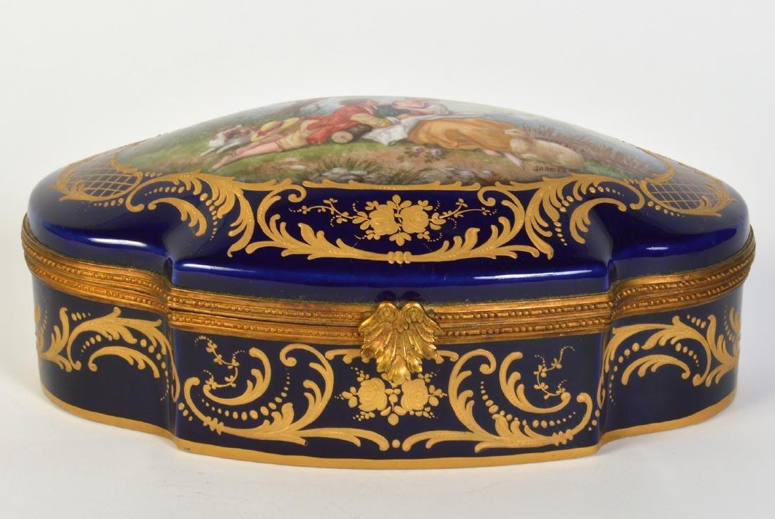 Sevres Style Painted Porcelain & Bronze Box