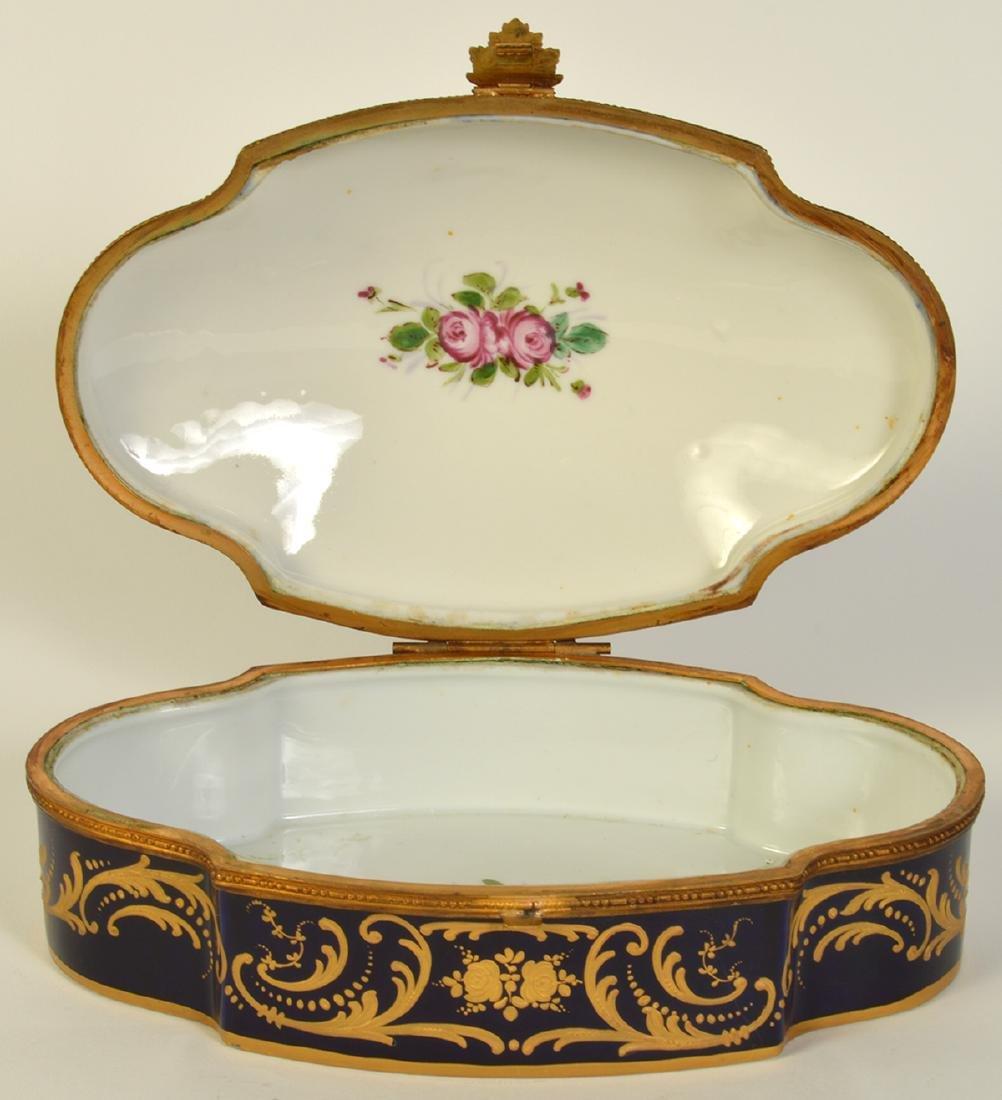 Sevres Style Painted Porcelain & Bronze Box - 2