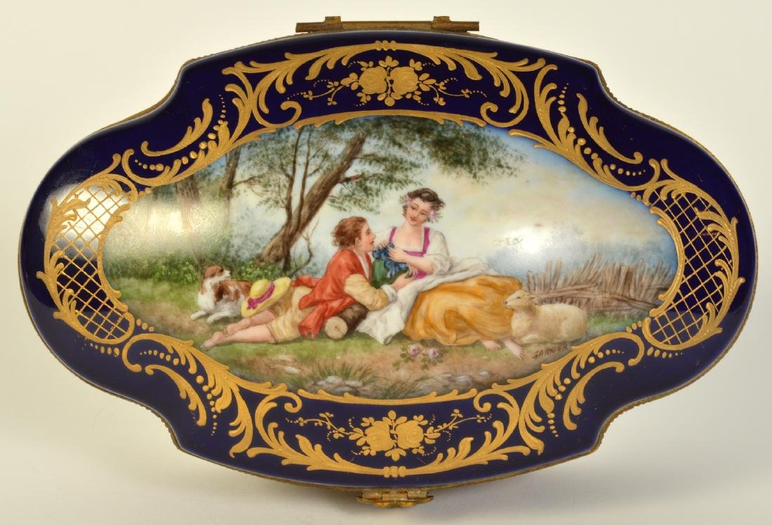 Sevres Style Painted Porcelain & Bronze Box - 3