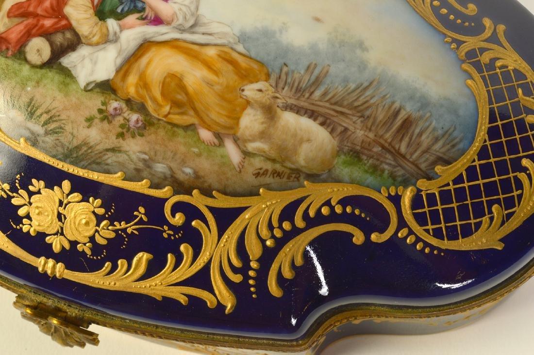 Sevres Style Painted Porcelain & Bronze Box - 5