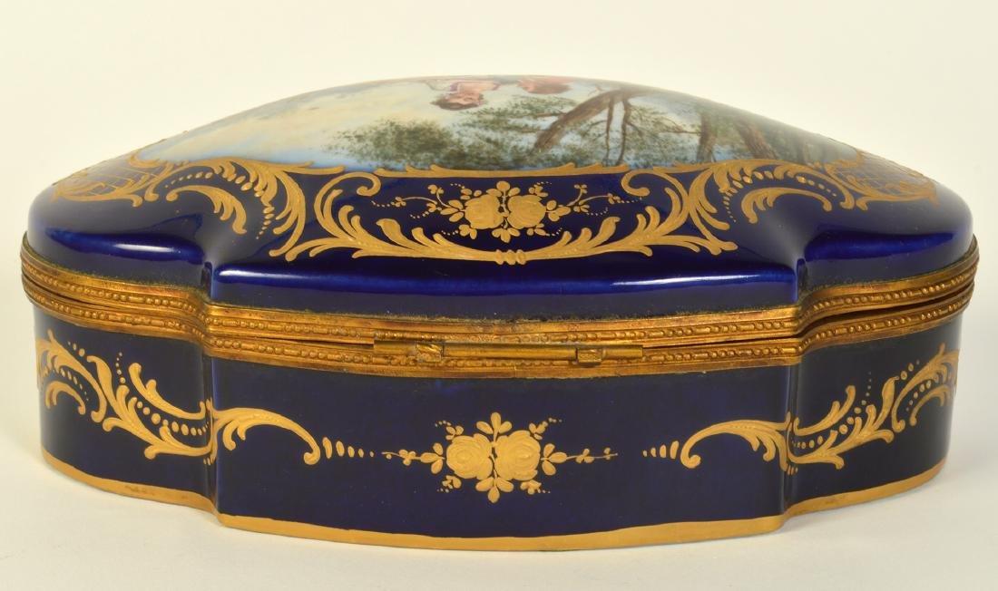 Sevres Style Painted Porcelain & Bronze Box - 7