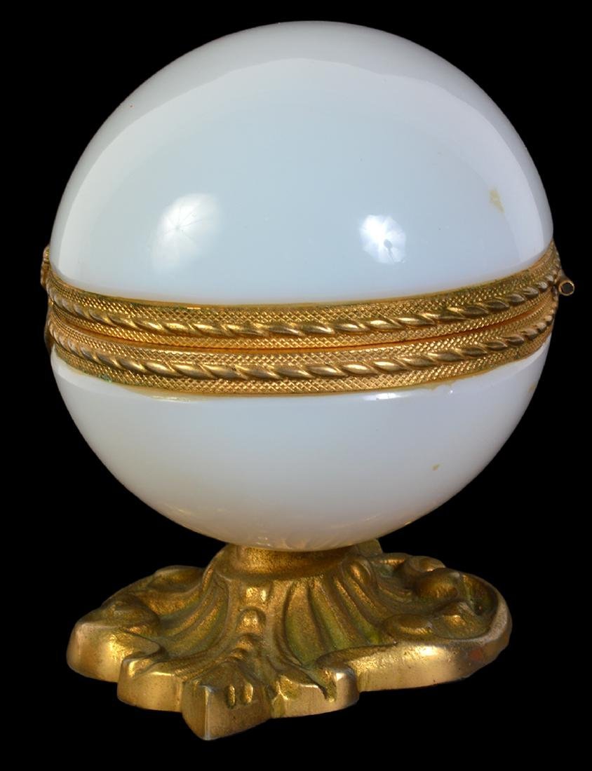 White Opaline Bronze Mounted Egg Box - 2