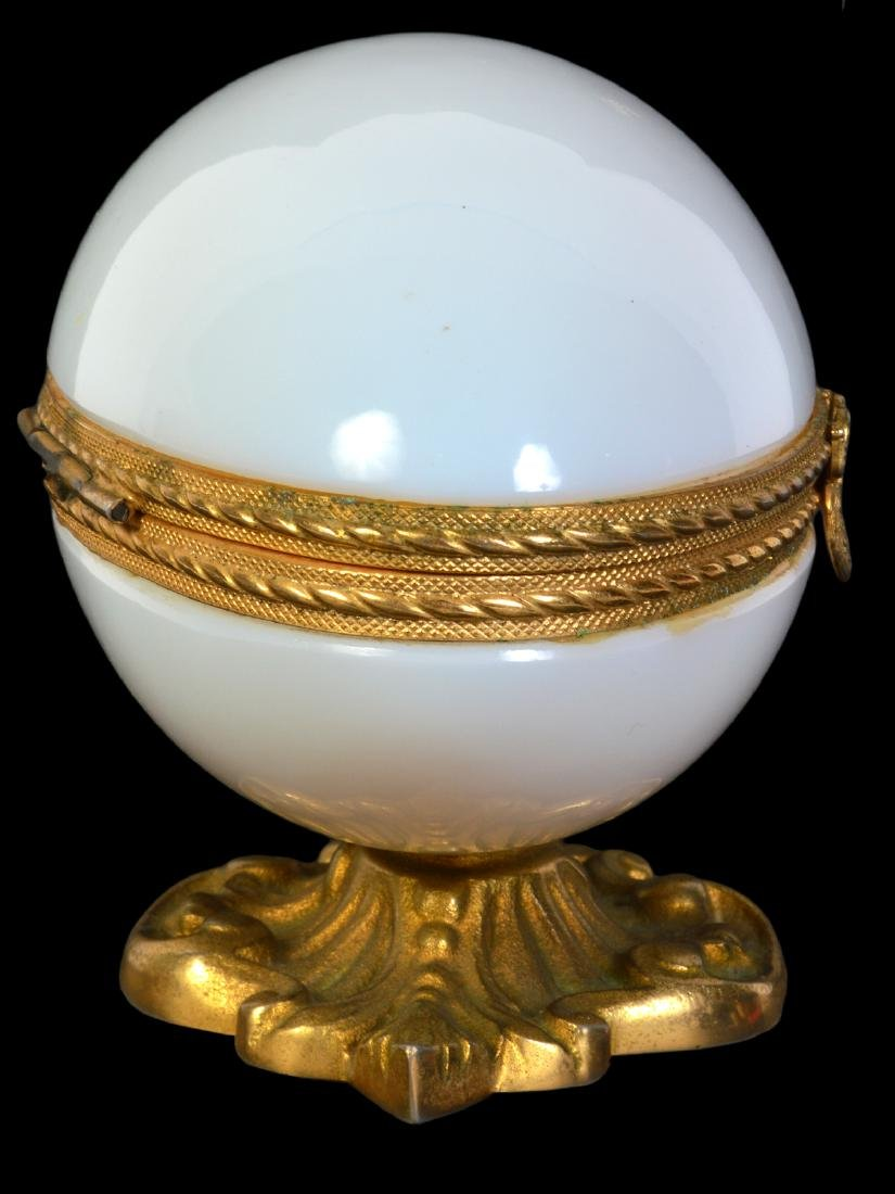 White Opaline Bronze Mounted Egg Box - 4