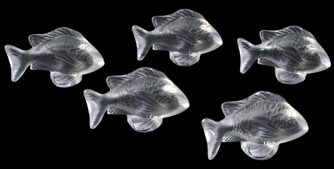 5 Lalique Crystal Fish Place Card Holders