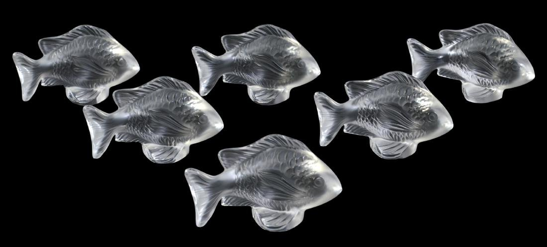 6 Lalique Crystal Fish Place Card Holders