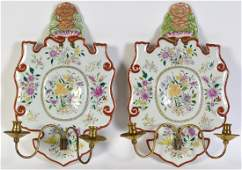 Pr Chinese Export Porcelain  Bronze Wall Sconces