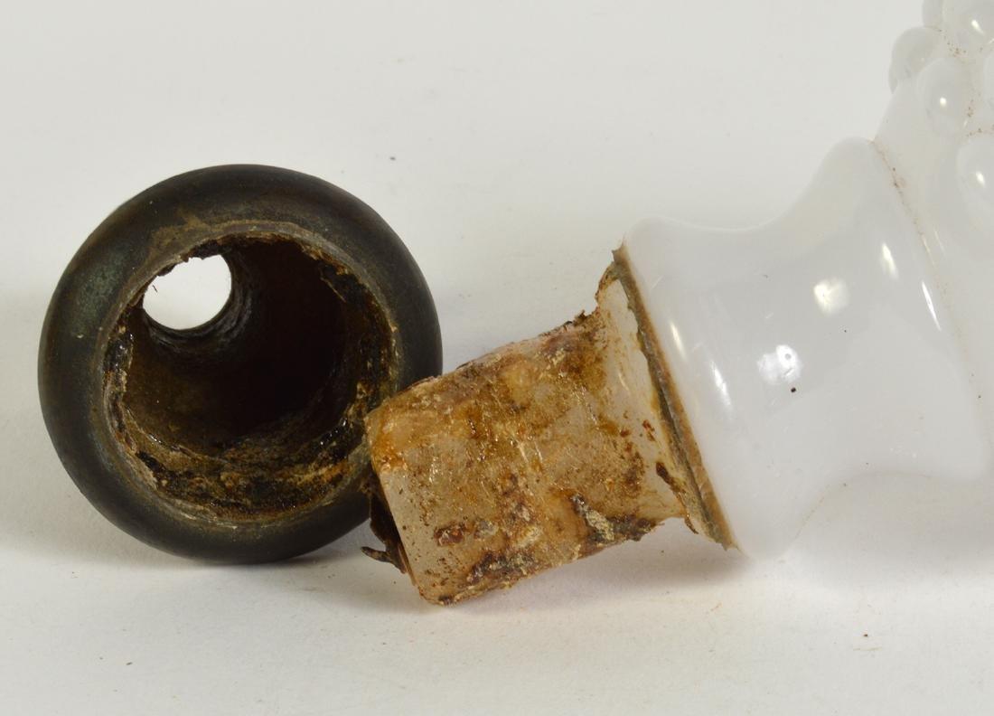 Antique White Opaline Boule Newel Post - 4